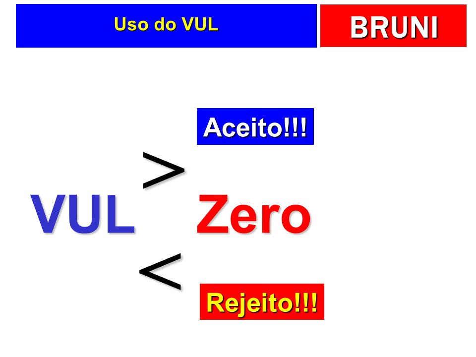 BRUNI Uso do VUL VULZero > < Aceito!!! Rejeito!!!