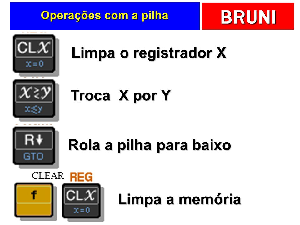 BRUNI Operações com a pilha Limpa o registrador X Troca X por Y Rola a pilha para baixo Limpa a memória CLEAR