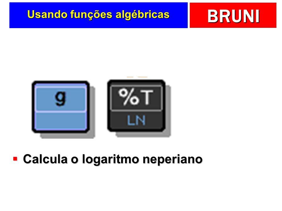 BRUNI Usando funções algébricas Calcula o logaritmo neperiano Calcula o logaritmo neperiano