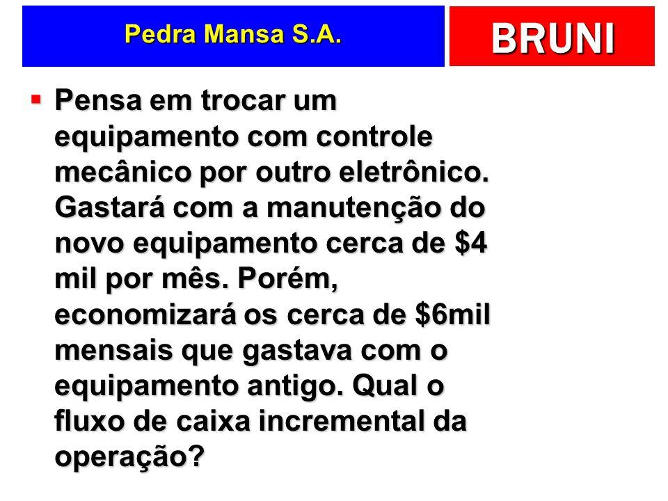 BRUNI Pedra Mansa S.A. Pensa em trocar um equipamento com controle mecânico por outro eletrônico. Gastará com a manutenção do novo equipamento cerca d
