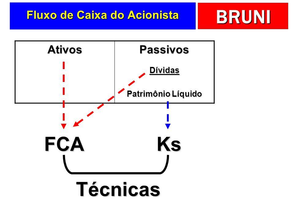 BRUNI Fluxo de Caixa do Acionista AtivosPassivosDívidas Patrimônio Líquido FCAKs Técnicas