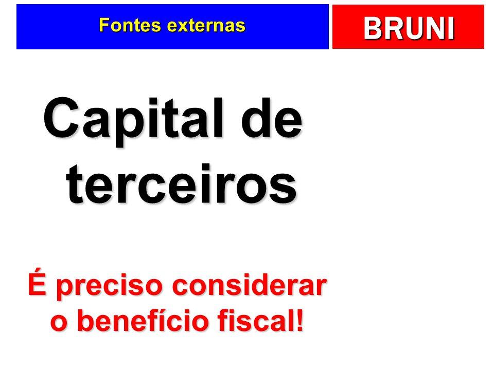 BRUNI Fontes externas Capital de terceiros É preciso considerar o benefício fiscal!