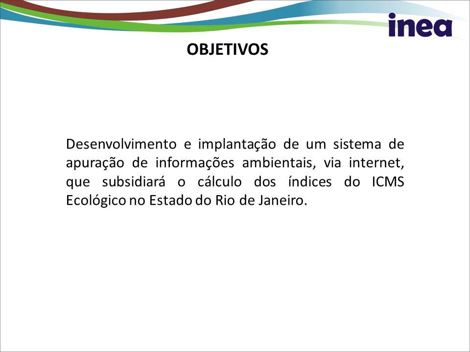 OBJETIVOS Desenvolvimento e implantação de um sistema de apuração de informações ambientais, via internet, que subsidiará o cálculo dos índices do ICM