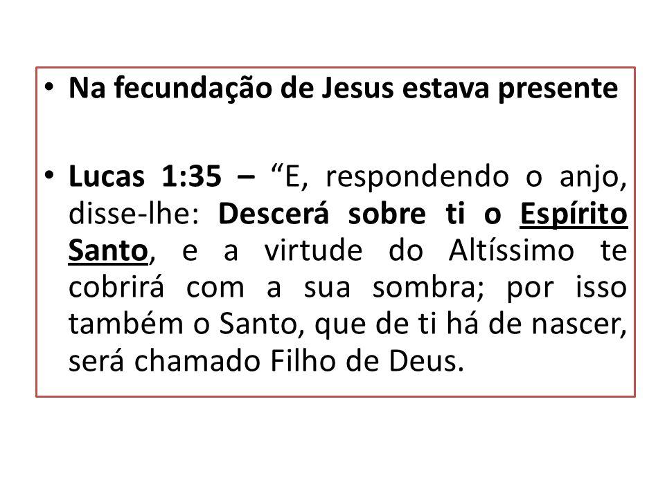 Na fecundação de Jesus estava presente Lucas 1:35 – E, respondendo o anjo, disse-lhe: Descerá sobre ti o Espírito Santo, e a virtude do Altíssimo te c