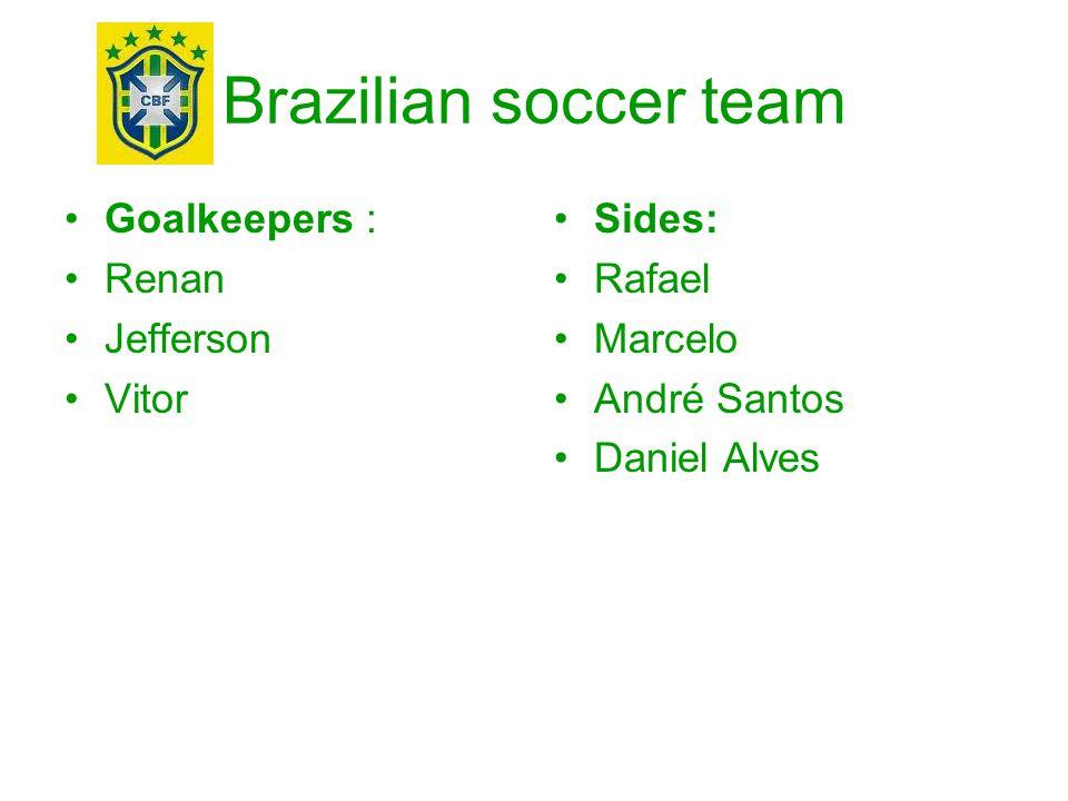 Brazilian soccer team Goalkeepers : Renan Jefferson Vitor Sides: Rafael Marcelo André Santos Daniel Alves