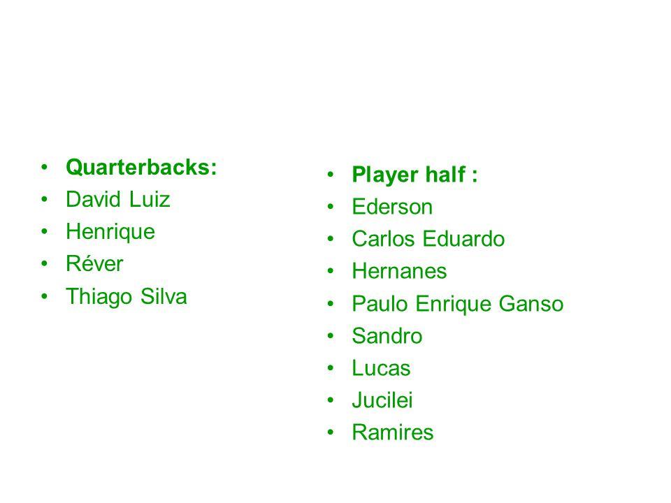 Quarterbacks: David Luiz Henrique Réver Thiago Silva Player half : Ederson Carlos Eduardo Hernanes Paulo Enrique Ganso Sandro Lucas Jucilei Ramires
