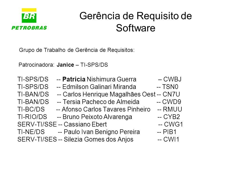 Gerência de Requisito de Software TI-SPS/DS -- Patricia Nishimura Guerra – CWBJ TI-SPS/DS -- Edmilson Galinari Miranda -- TSN0 TI-BAN/DS -- Carlos Hen