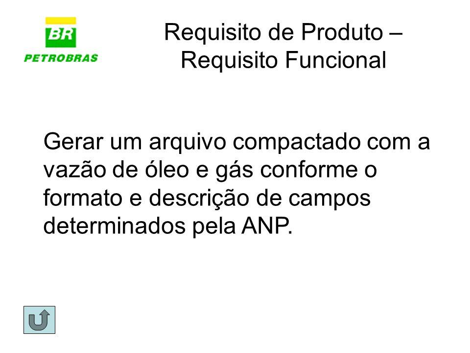 Requisito de Produto – Requisito Funcional Gerar um arquivo compactado com a vazão de óleo e gás conforme o formato e descrição de campos determinados