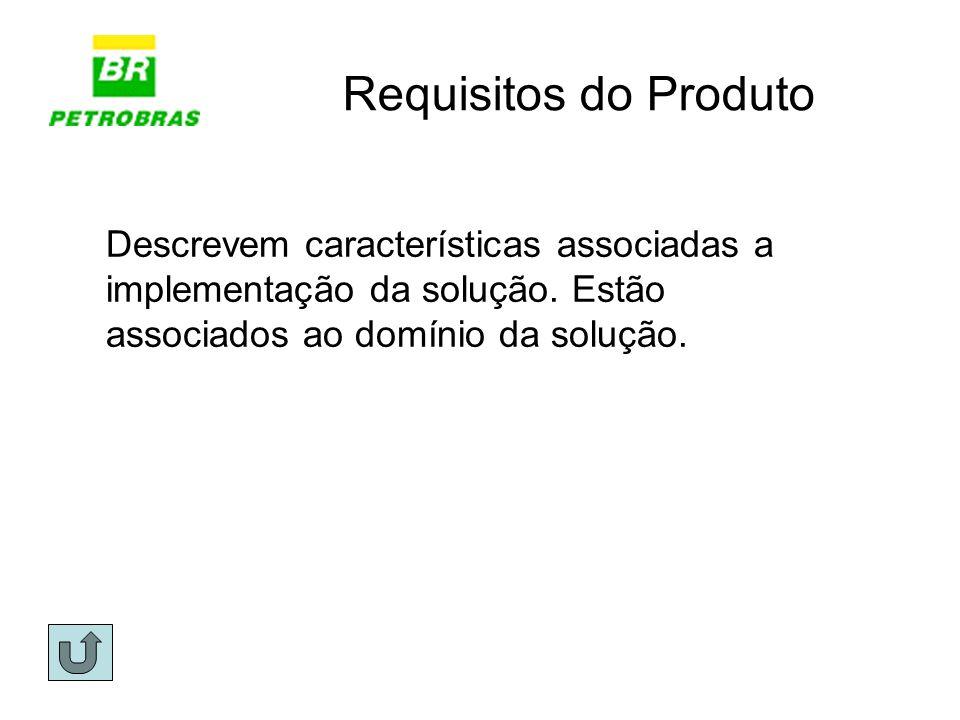 Requisitos do Produto Descrevem características associadas a implementação da solução. Estão associados ao domínio da solução.