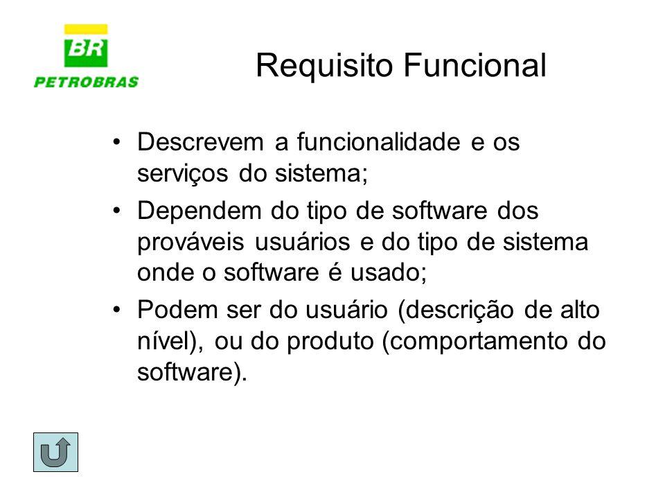 Requisito Funcional Descrevem a funcionalidade e os serviços do sistema; Dependem do tipo de software dos prováveis usuários e do tipo de sistema onde