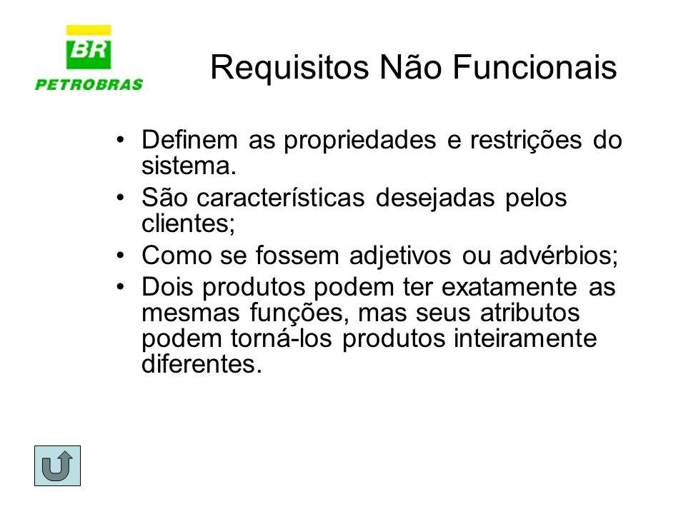 Requisitos Não Funcionais Definem as propriedades e restrições do sistema. São características desejadas pelos clientes; Como se fossem adjetivos ou a