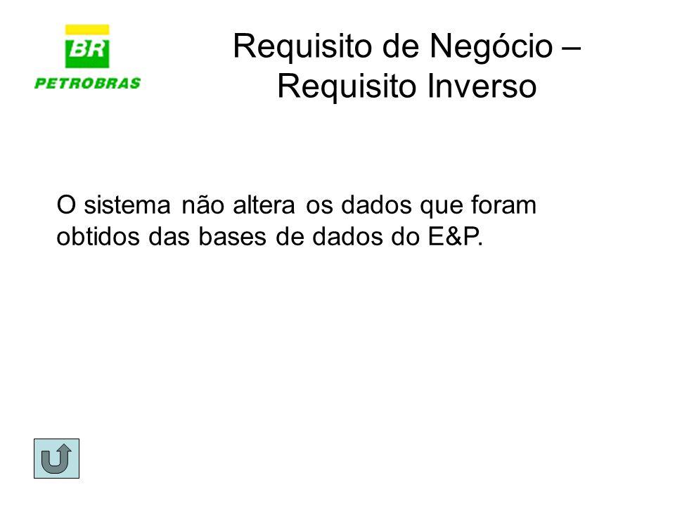 Requisito de Negócio – Requisito Inverso O sistema não altera os dados que foram obtidos das bases de dados do E&P.