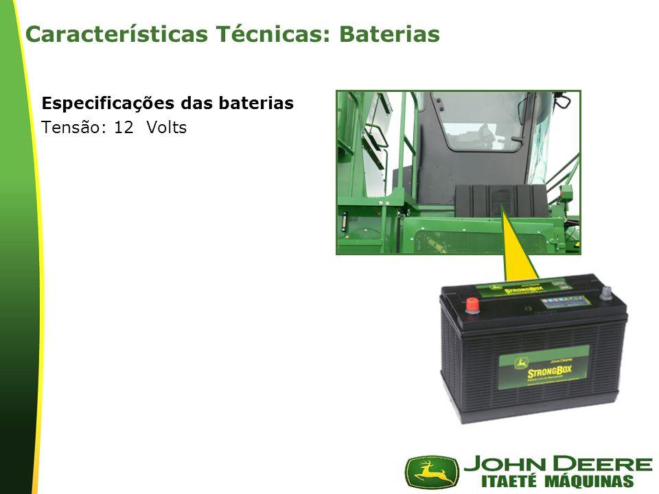 | Características Técnicas: Baterias Especificações das baterias Tensão: 12 Volts
