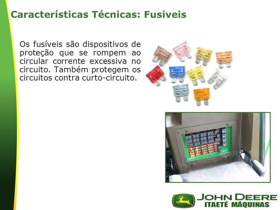 | Características Técnicas: Fusiveis Os fusíveis são dispositivos de proteção que se rompem ao circular corrente excessiva no circuito.