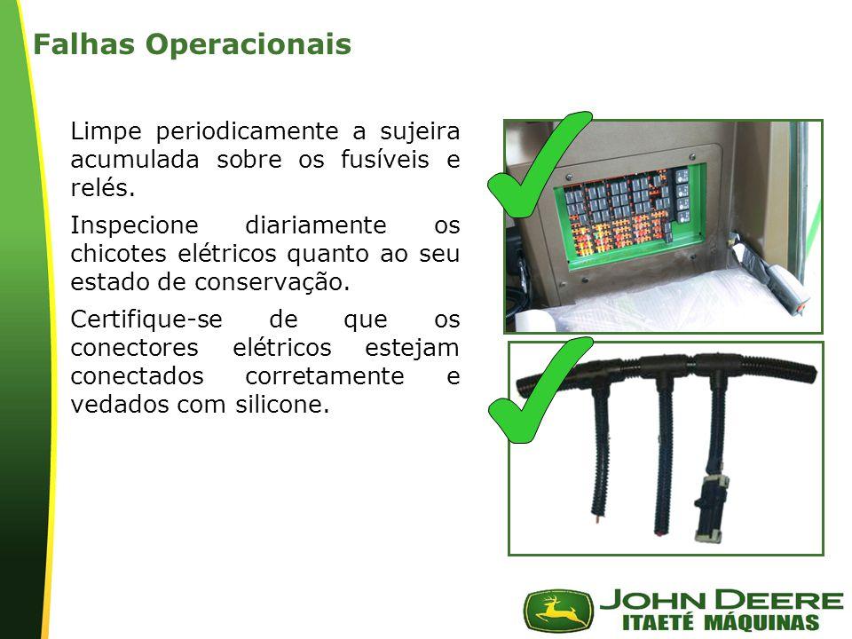 | Falhas Operacionais Limpe periodicamente a sujeira acumulada sobre os fusíveis e relés.
