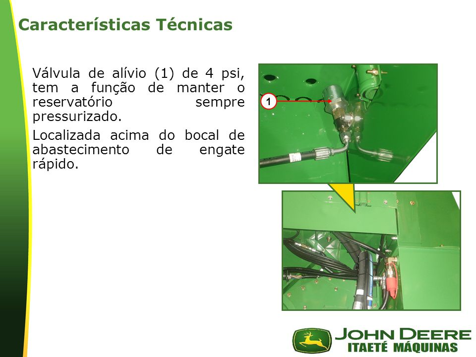 | Características Técnicas: Bloco do Comando de Válvulas de 6 Bancos Função de controlar os seguintes componentes: 1 –Giro do elevador 2 –Sobe e desce divisor de linha esquerdo 3 –Sobe e desce divisor de linha direito 4 –Giro do bojo extrator primário 5 –Sobe e desce cortador de pontas 6 –Sobe e desce suspensão da colhedora (sem CACB) 7 –Válvula de alívio 1750 psi 8 –Solenóide de bloqueio 9 –Válvula de alívio 2600 psi 1 2 3 4 5 6 8 7 9