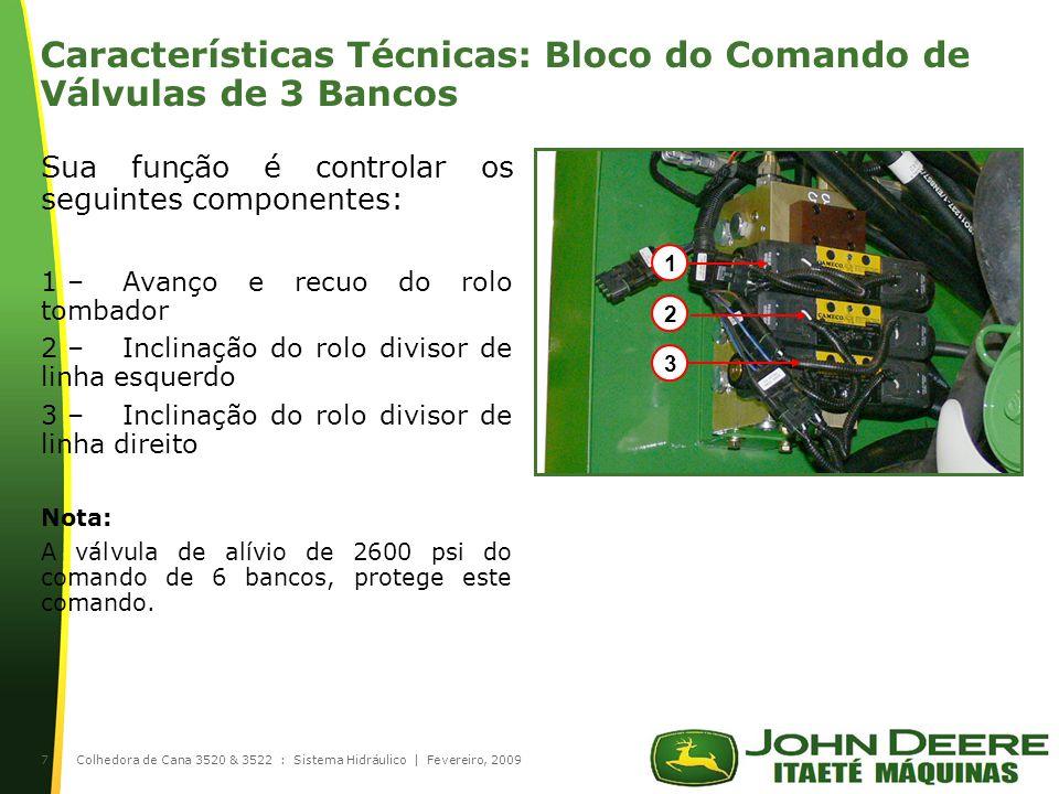 |Colhedora de Cana 3520 & 3522 : Sistema Hidráulico | Fevereiro, 20098 Características Técnicas: Bombas Hidráulicas 1 –Transmissão do lado esquerdo 2 –Transmissão do lado direito 3 –Extrator secundário e esteira do elevador 4 –Rolos alimentadores 5 –Rolos tombadores 6 –Corte de base e picador 7 –Extrator primário 8 –Cortador de pontas e facas laterais 9 –Ventilador do radiador 10 –Divisores de linhas 11 –Comando de 6 e 3 bancos e CACB 12 –Flap, giro do bojo do extrator secundário e sobe e desce o elevador 21 3 4 5 7 6 8 9 10 11 12