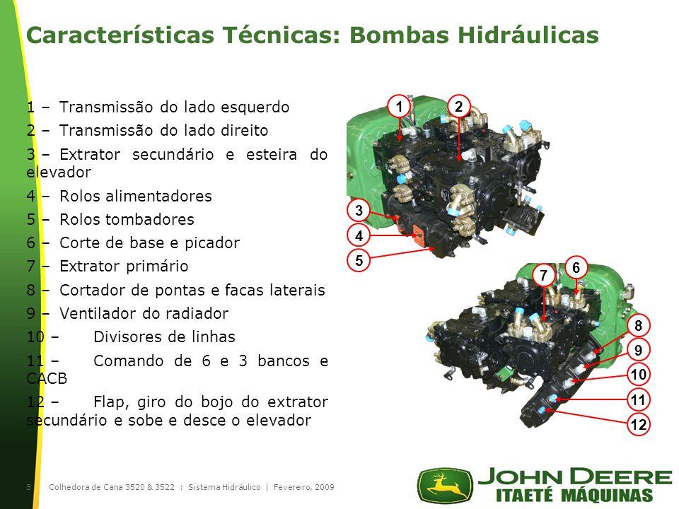 |Colhedora de Cana 3520 & 3522 : Sistema Hidráulico | Fevereiro, 20098 Características Técnicas: Bombas Hidráulicas 1 –Transmissão do lado esquerdo 2