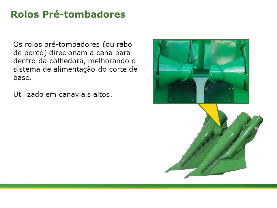|Colhedora de Cana 3520 & 3522 : Divisores de Linhas e Tombadores | Janeiro, 20107 Rolos Tombadores Os rolos tombadores curvam o fluxo de cana para o cortador de base.