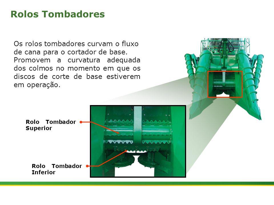 |Colhedora de Cana 3520 & 3522 : Divisores de Linhas e Tombadores | Janeiro, 20108 Rolos Tombadores A posição do Rolo Tombador Superior é ajustado hidraulicamente através da tecla (1).