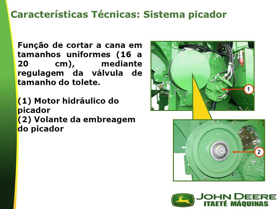 | Função de cortar a cana em tamanhos uniformes (16 a 20 cm), mediante regulagem da válvula de tamanho do tolete. (1) Motor hidráulico do picador (2)