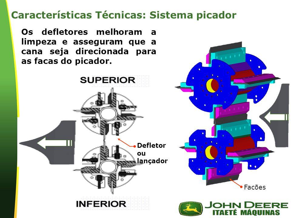 | Os defletores melhoram a limpeza e asseguram que a cana seja direcionada para as facas do picador. Características Técnicas: Sistema picador Facões