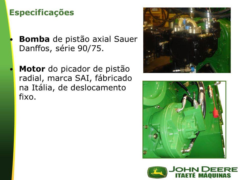 | Especificações Bomba de pistão axial Sauer Danffos, série 90/75. Motor do picador de pistão radial, marca SAI, fábricado na Itália, de deslocamento