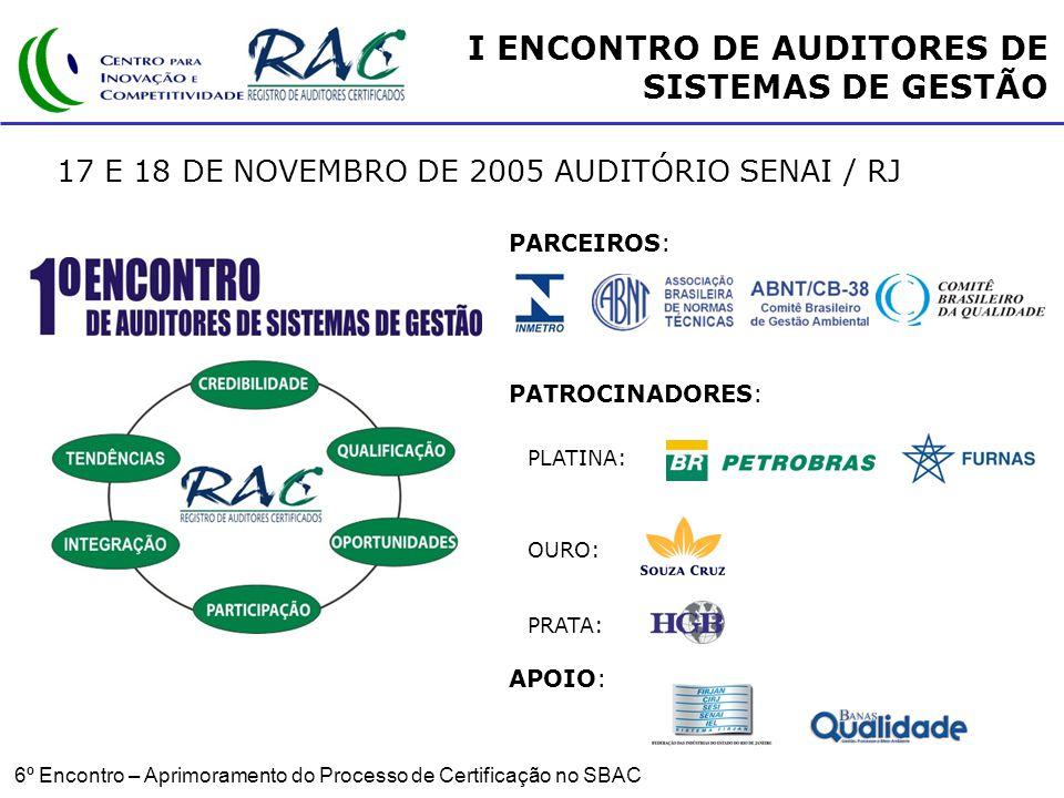 6º Encontro – Aprimoramento do Processo de Certificação no SBAC I ENCONTRO DE AUDITORES DE SISTEMAS DE GESTÃO 17 E 18 DE NOVEMBRO DE 2005 AUDITÓRIO SENAI / RJ PARCEIROS: PATROCINADORES: APOIO: PLATINA: OURO: PRATA: