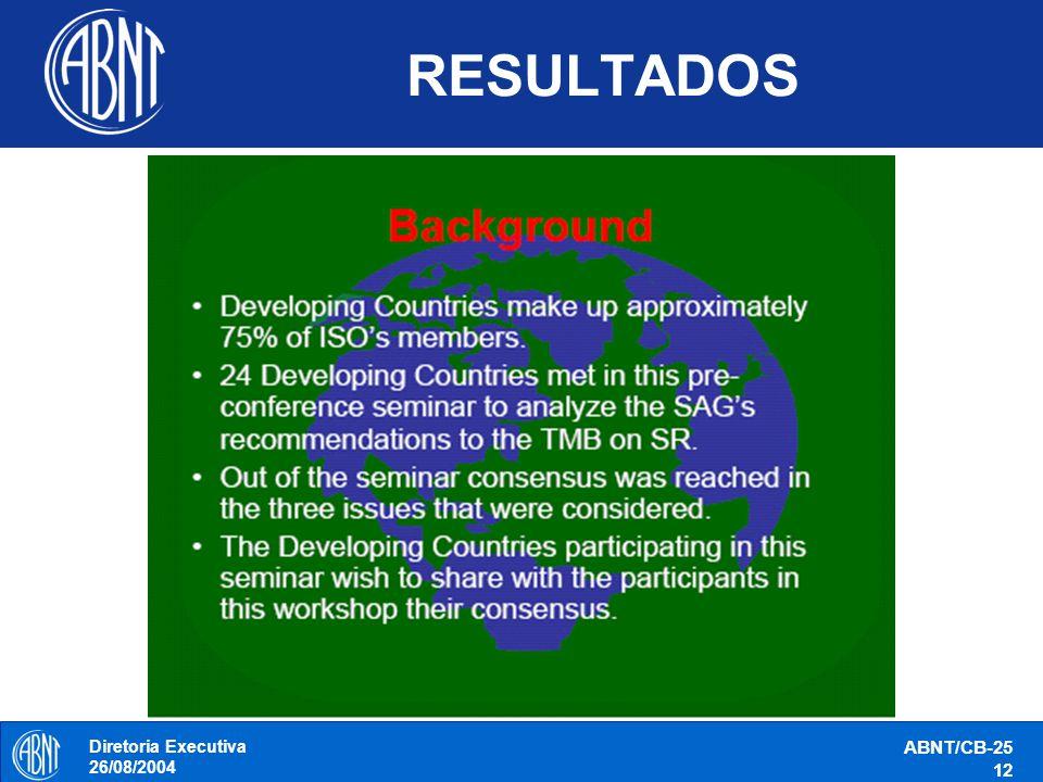 Diretoria Executiva 26/08/2004 ABNT/CB-25 12 RESULTADOS