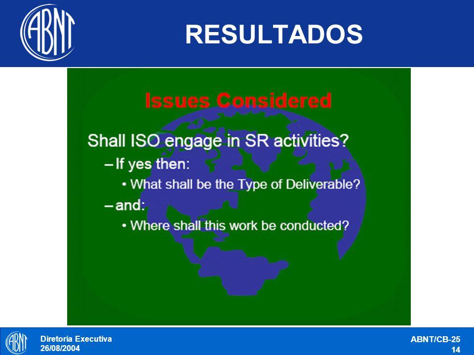 Diretoria Executiva 26/08/2004 ABNT/CB-25 14 RESULTADOS