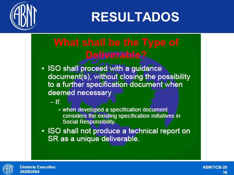 Diretoria Executiva 26/08/2004 ABNT/CB-25 16 RESULTADOS