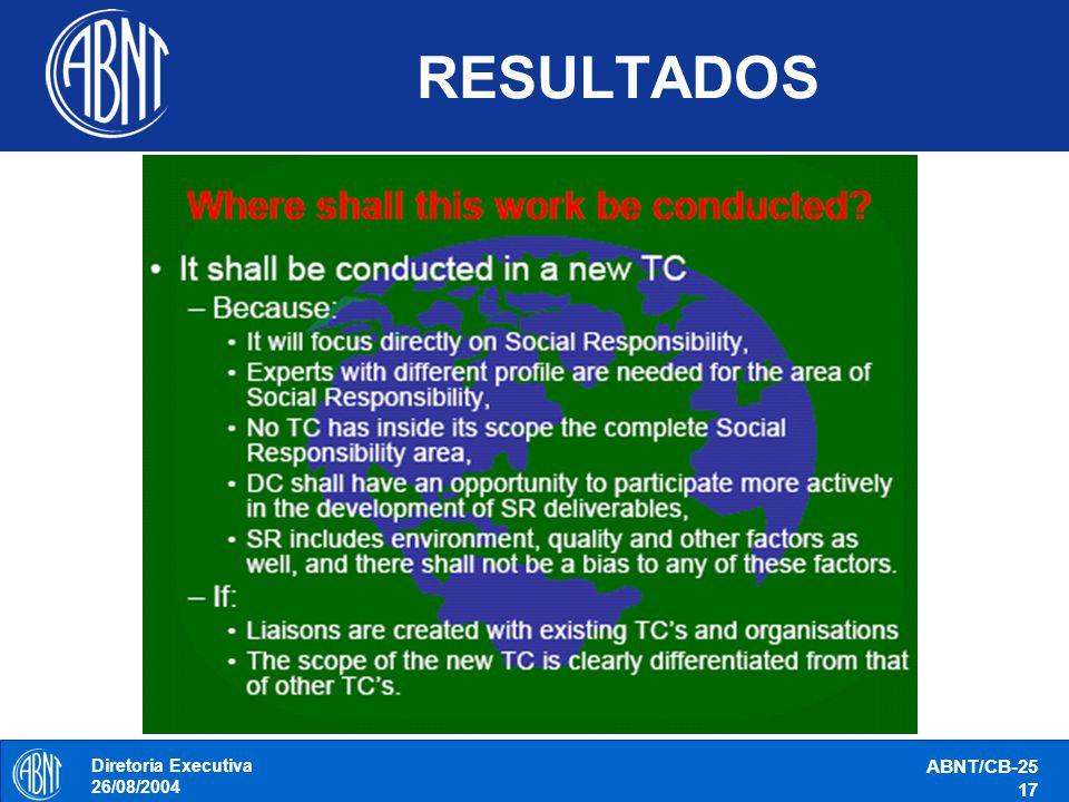 Diretoria Executiva 26/08/2004 ABNT/CB-25 17 RESULTADOS