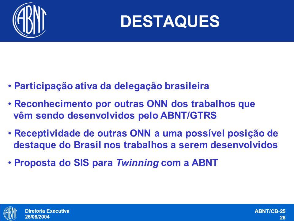 Diretoria Executiva 26/08/2004 ABNT/CB-25 26 DESTAQUES Participação ativa da delegação brasileira Reconhecimento por outras ONN dos trabalhos que vêm