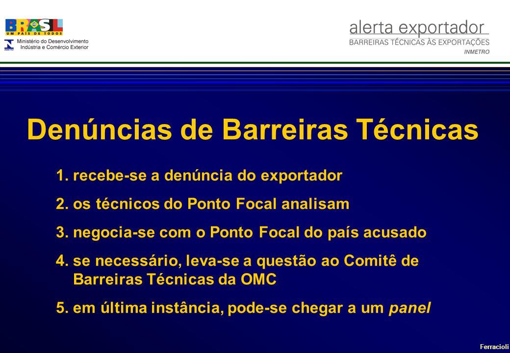 Ferracioli Denúncias de Barreiras Técnicas 1. recebe-se a denúncia do exportador 2. os técnicos do Ponto Focal analisam 3. negocia-se com o Ponto Foca
