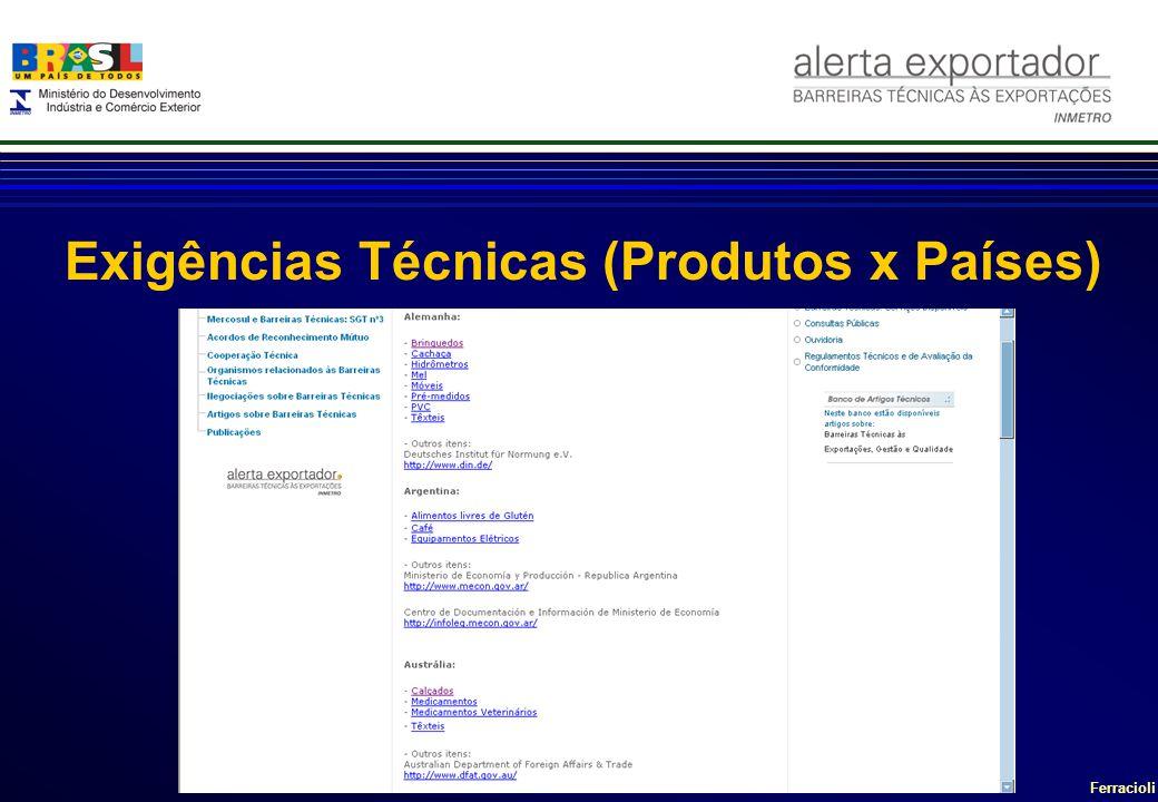 Ferracioli Exigências Técnicas (Produtos x Países)