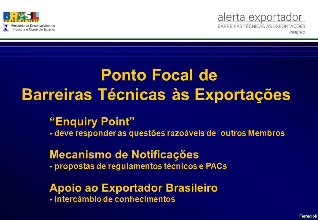 Ferracioli Enquiry Point - deve responder as questões razoáveis de outros Membros Mecanismo de Notificações - propostas de regulamentos técnicos e PACs Apoio ao Exportador Brasileiro - intercâmbio de conhecimentos Ponto Focal de Barreiras Técnicas às Exportações