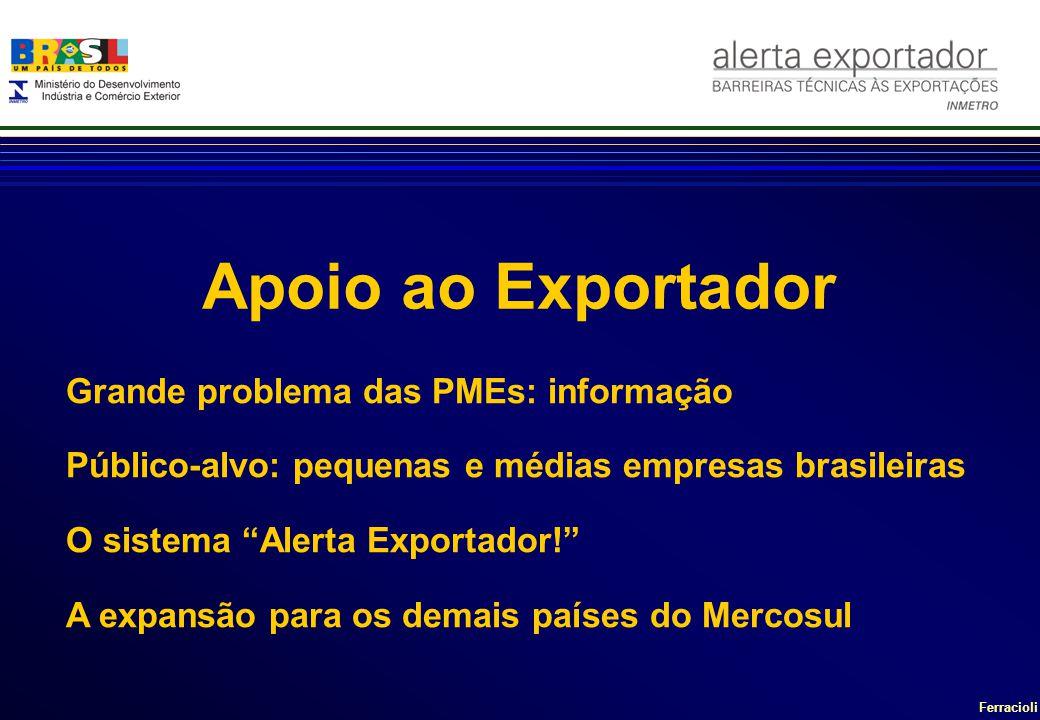 Ferracioli Grande problema das PMEs: informação Público-alvo: pequenas e médias empresas brasileiras O sistema Alerta Exportador! A expansão para os d