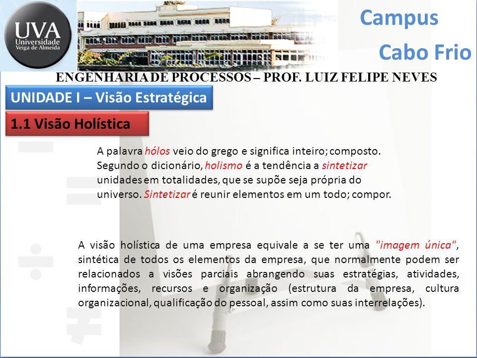 Campus Cabo Frio ENGENHARIA DE PROCESSOS – PROF. LUIZ FELIPE NEVES UNIDADE I – Visão Estratégica 1.1 Visão Holística A palavra hólos veio do grego e s