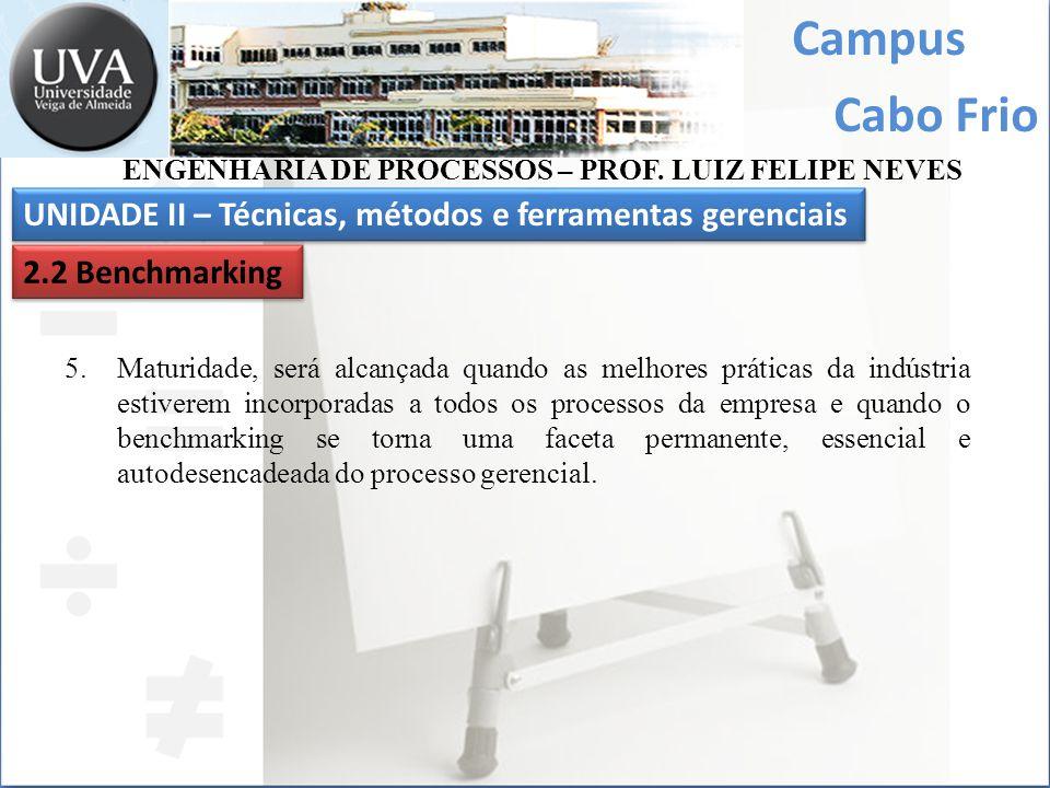 Campus Cabo Frio UNIDADE II – Técnicas, métodos e ferramentas gerenciais ENGENHARIA DE PROCESSOS – PROF. LUIZ FELIPE NEVES 2.2 Benchmarking 5.Maturida