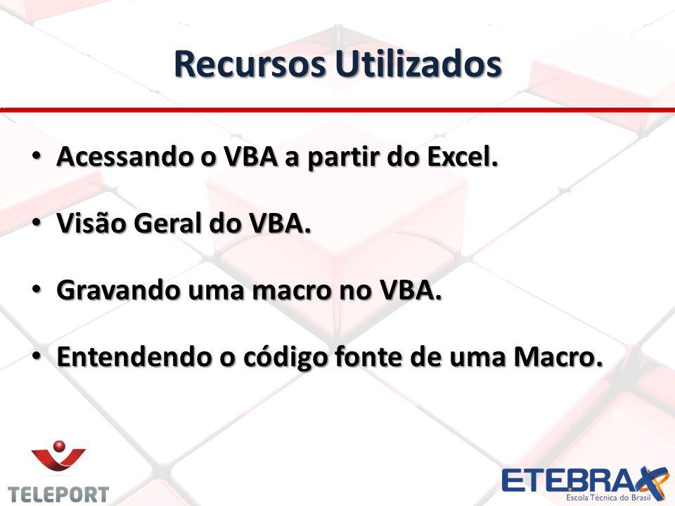 Recursos Utilizados Acessando o VBA a partir do Excel. Acessando o VBA a partir do Excel. Visão Geral do VBA. Visão Geral do VBA. Gravando uma macro n