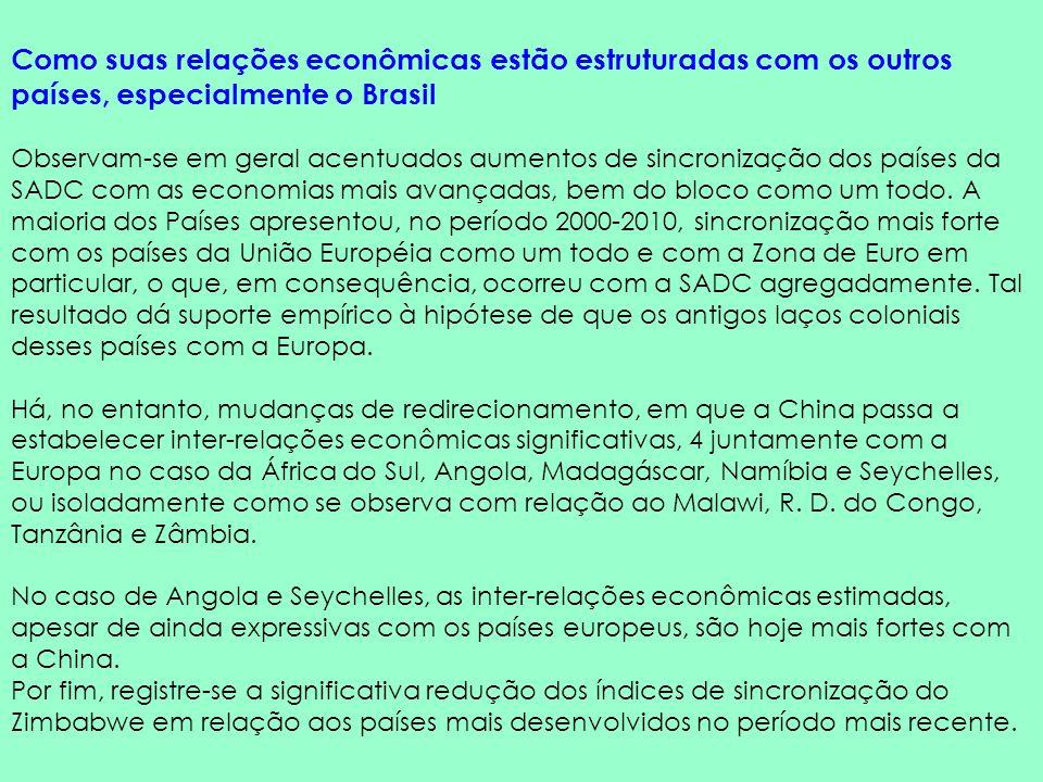 Como suas relações econômicas estão estruturadas com os outros países, especialmente o Brasil Observam-se em geral acentuados aumentos de sincronizaçã