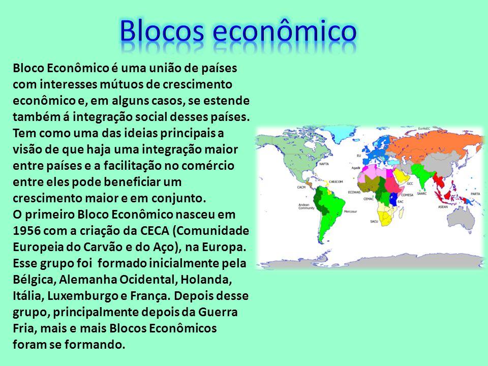 Bloco Econômico é uma união de países com interesses mútuos de crescimento econômico e, em alguns casos, se estende também á integração social desses