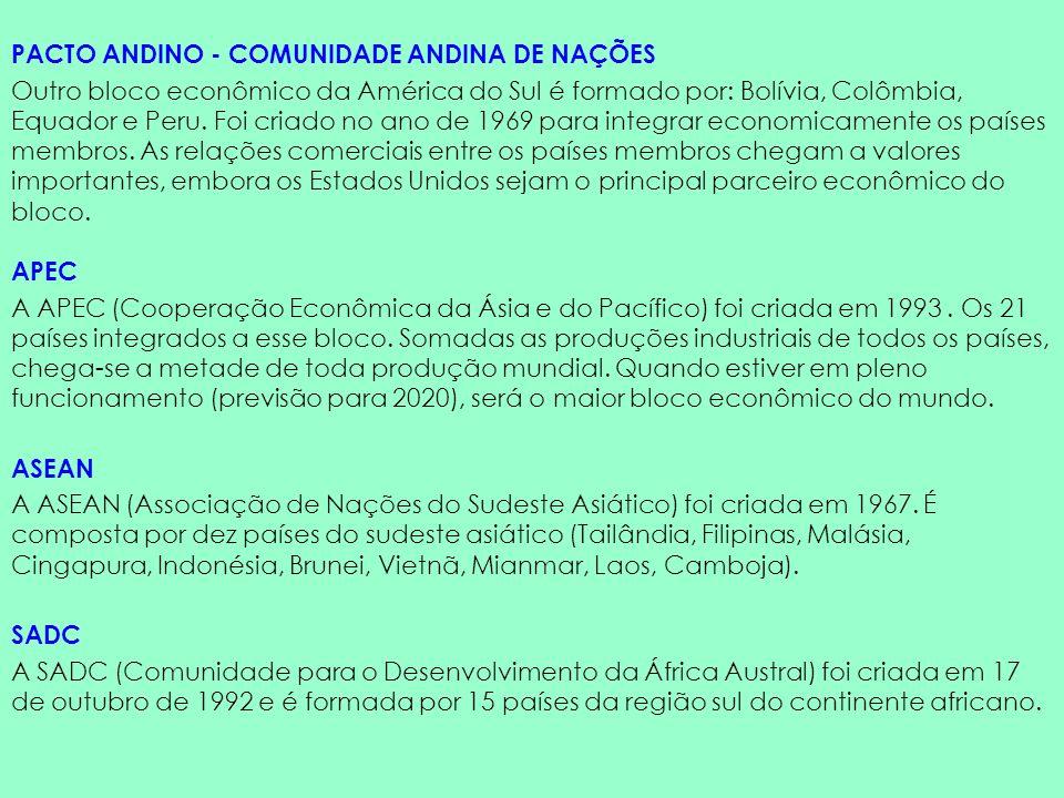 PACTO ANDINO - COMUNIDADE ANDINA DE NAÇÕES Outro bloco econômico da América do Sul é formado por: Bolívia, Colômbia, Equador e Peru. Foi criado no ano