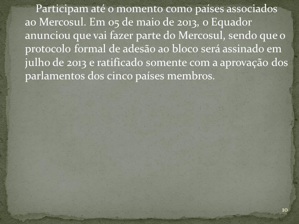 Participam até o momento como países associados ao Mercosul.