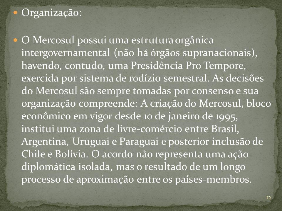 Organização: O Mercosul possui uma estrutura orgânica intergovernamental (não há órgãos supranacionais), havendo, contudo, uma Presidência Pro Tempore, exercida por sistema de rodízio semestral.