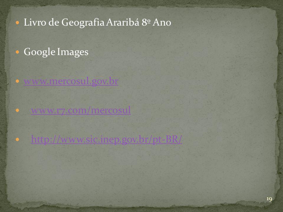 Livro de Geografia Araribá 8º Ano Google Images www.mercosul.gov.br www.r7.com/mercosul http://www.sic.inep.gov.br/pt-BR/ 19