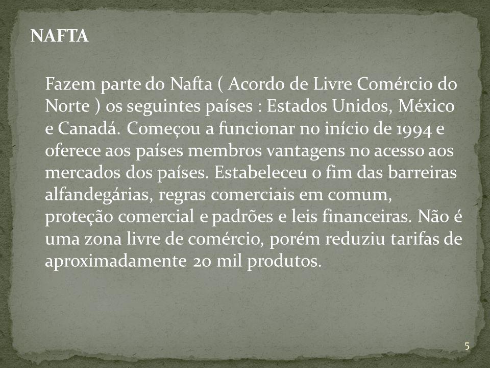 NAFTA Fazem parte do Nafta ( Acordo de Livre Comércio do Norte ) os seguintes países : Estados Unidos, México e Canadá.