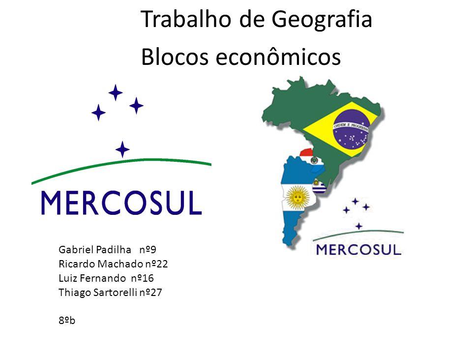 Trabalho de Geografia Blocos econômicos Gabriel Padilha nº9 Ricardo Machado nº22 Luiz Fernando nº16 Thiago Sartorelli nº27 8ºb