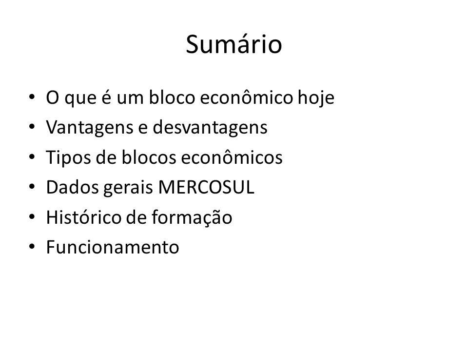 Sumário O que é um bloco econômico hoje Vantagens e desvantagens Tipos de blocos econômicos Dados gerais MERCOSUL Histórico de formação Funcionamento