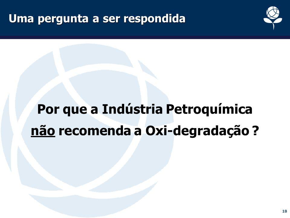 18 Uma pergunta a ser respondida Por que a Indústria Petroquímica não recomenda a Oxi-degradação ?